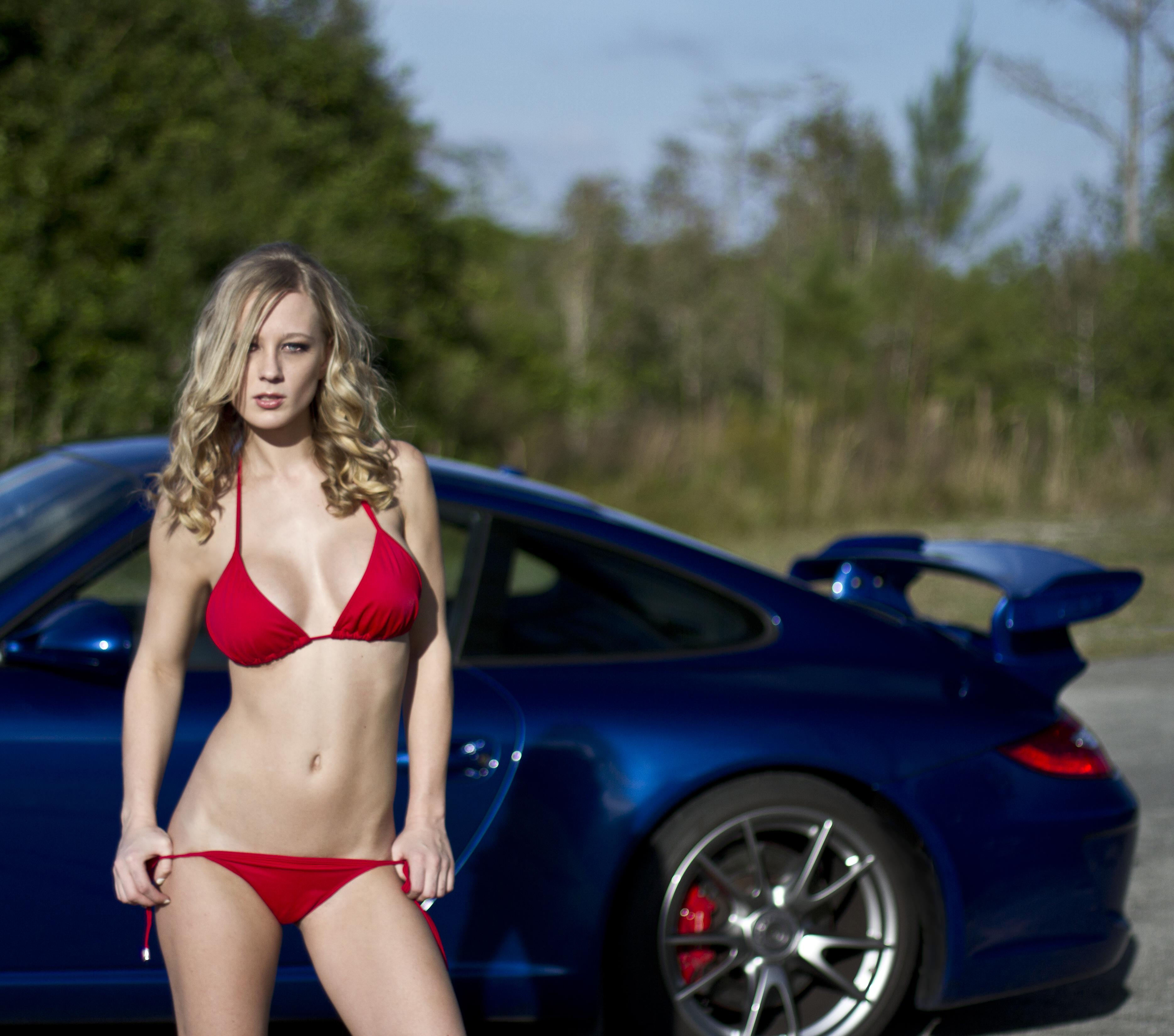Car girl and Porsche 911