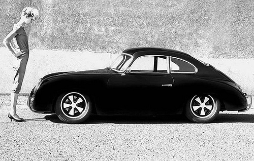 Car girl and Porsche 356 black