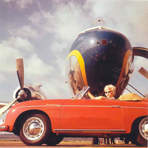 Car girl and Porsche 356 cabriolet red