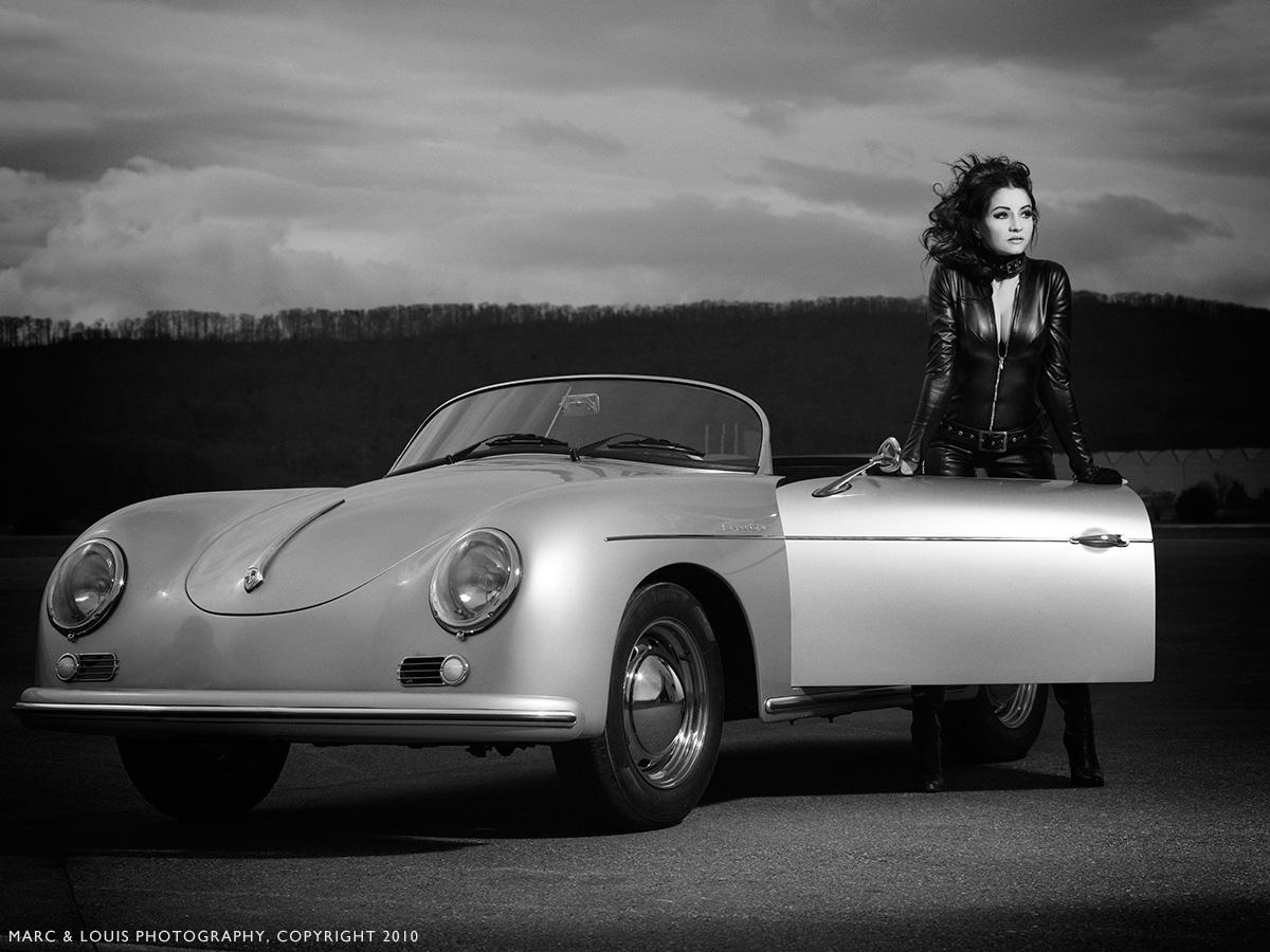 Car girl and Porsche 356 cabriolet by btmphotography