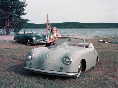 Car girl and Porsche 356 grey
