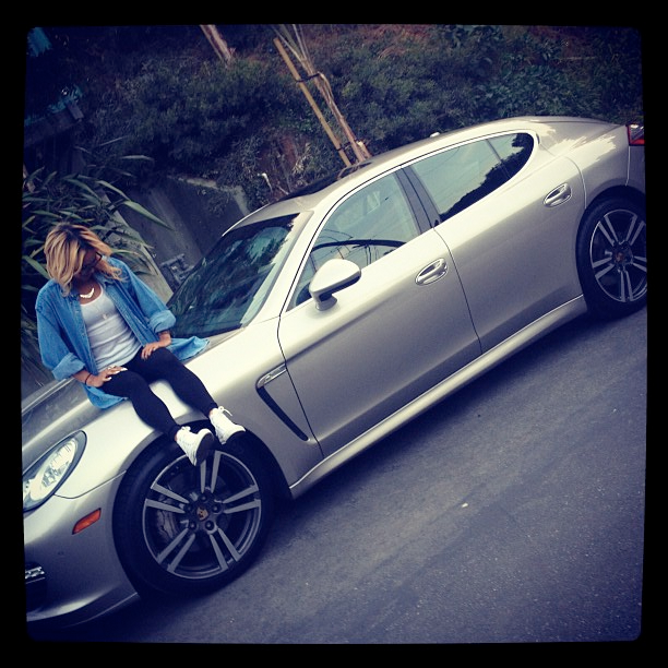 Car girl and Porsche Panamera