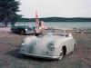 Car girl and Porsche 356 grey