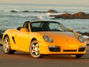 2007 Yellow Porsche Boxster S Front angle view