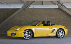 2008 Yellow Porsche Boxster S Side angle view
