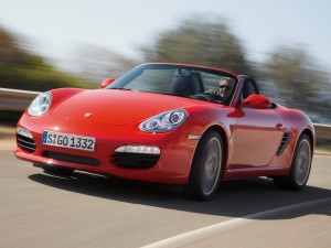 2009 Red Porsche Boxster S Front angle view