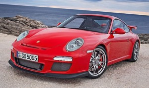 2010 red Porsche 911 GT3 Front angle view