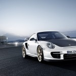 2011 white Porsche 911 GT2 RS wallpaper Front angle view