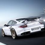 2011 white Porsche 911 GT2 RS wallpaper Rear view
