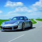 2011 Silver Porsche 911 GT2 RS wallpaper Front angle view