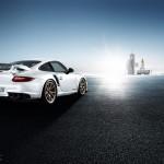 2011 white Porsche 911 GT2 RS wallpaper Rear angle view