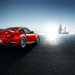 2011 red Porsche 911 GT2 RS wallpaper Rear angle view