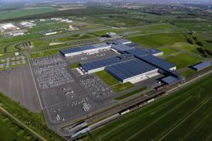 Aerial shot of Porsche plant in Leipzig GmbH