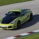 Peridot Metallic 2011 Porsche Cayman R Front angle top view