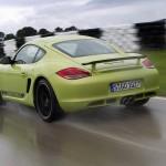 Peridot Metallic 2011 Porsche Cayman R Rear angle view