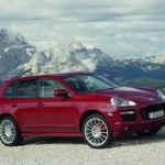 Red Porsche Cayenne GTS 2008 1600x1200 wallpaper Side angle view