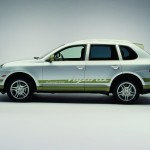 Classic Silver Metallic Porsche Cayenne Hybrid 2008 1600x1200 wallpaper Side view
