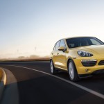 Yellow Porsche Cayenne S 2011 3000x1560 wallpaper Front angle view
