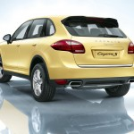 Yellow Porsche Cayenne S 2011 3000x1560 wallpaper Rear angle view