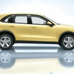 Yellow Porsche Cayenne S 2011 3000x1560 wallpaper Side view