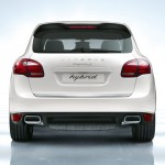 Sand White Porsche Cayenne S Hybrid 2011 3000x1560 wallpaper Rear view