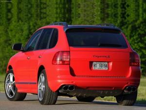Red Porsche Cayenne S Titanium 2006 1600x1200 wallpaper Rear angle