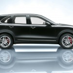 Jet Black Metallic Porsche Cayenne Turbo 2011 3000x1560 wallpaper Side view