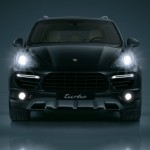 Jet Black Metallic Porsche Cayenne Turbo 2011 3000x1560 wallpaper Front view Lights on