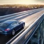 Aqua Blue Metallic Porsche Panamera 4S 2011 wallpaper Rear angle top view