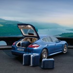 Aqua Blue Metallic Porsche Panamera 4S 2011 wallpaper Rear angle view