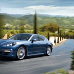 Aqua Blue Metallic Porsche Panamera 4S 2011 wallpaper Side angle view