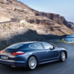 Aqua Blue Metallic Porsche Panamera 4S 2011 wallpaper Side rear angle view