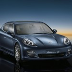 Aqua Blue Metallic Porsche Panamera 4S 2011 wallpaper Front angle view