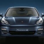 Aqua Blue Metallic Porsche Panamera 4S 2011 wallpaper Front view