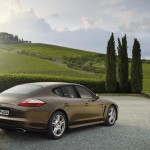 Cognac Metallic Porsche Panamera 4 2011 wallpaper Rear angle view