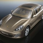Cognac Metallic Porsche Panamera 4 2011 wallpaper Front angle top view