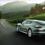 Cristal Green Metallic Porsche Panamera S Hybrid 2011 wallpaper Rear angle view