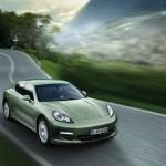 Cristal Green Metallic Porsche Panamera S Hybrid 2011 wallpaper Front angle view