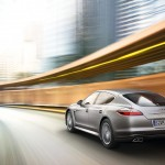 GT Silver Metallic Porsche Panamera Turbo 2011 wallpaper Rear angle view