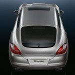 GT Silver Metallic Porsche Panamera Turbo 2011 wallpaper Rear top view