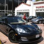 Sylvester Stallone's 2010 black Porsche Panamera 4S Front angle view
