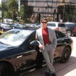 Sylvester Stallone's 2010 black Porsche Panamera 4S Side angle view