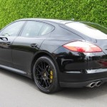 Sylvester Stallone's 2010 black Porsche Panamera 4S Rear angle view
