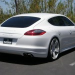Rob Dyrek's 2010 white Porsche Panamera Turbo Rear angle view