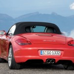 2009 Guards Red Porsche Boxster S wallpaper Rear view Roof on