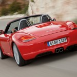 2009 Guards Red Porsche Boxster S wallpaper Rear view