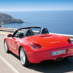 2009 Guards Red Porsche Boxster S wallpaper Rear angle view