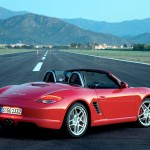 2009 Guards Red Porsche Boxster S wallpaper Rear angle side view