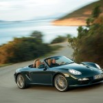 2009 Porsche Racing Green Metallic Boxster wallpaper Side angle view