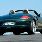 2009 Porsche Racing Green Metallic Boxster wallpaper Rear angle view